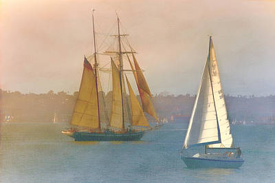 Sailing On The Bay Art Print by Claude LeTien