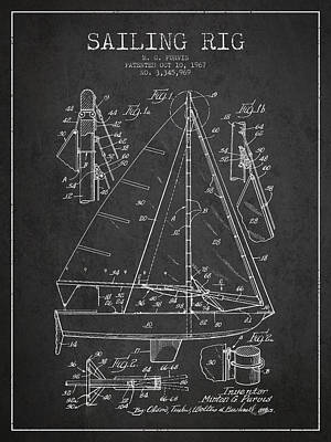 Transportation Digital Art - Sailing Rig Patent Drawing From 1967 by Aged Pixel