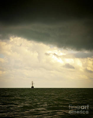 Sailing Ship Photograph - Sailing Ship In Storm by Tim Hester