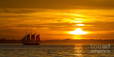 Tall Ships Photograph - Sailing Yacht Schooner Pride Sunset by Dustin K Ryan