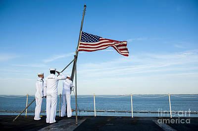Landmarks Royalty Free Images - Sailors Raise The National Ensign Royalty-Free Image by Stocktrek Images