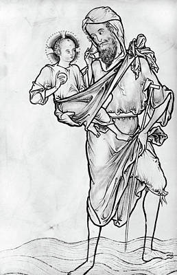 Jesus Drawing - Saint Christopher by Granger