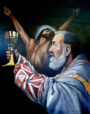 Padre Pio Painting - Padre Pio At Mass by John Genuard