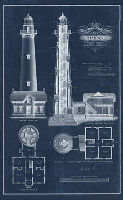 Coast Guard Drawing - Saint Simon Lighthouse by Jerry McElroy