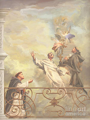 Saints Dominic Benedict And Francis Of Assisi II Art Print by John Alan  Warford