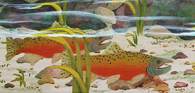 Salmon Art Print by Katherine Young-Beck