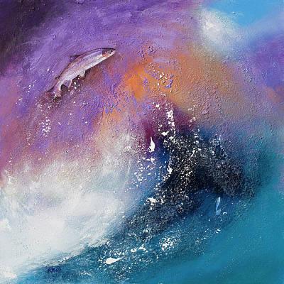 Salmon Leap Art Print