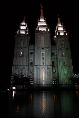Night Photograph - Salt Lake Temple by Gloria Pasko