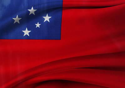 Samoan Flag Art Print by Les Cunliffe