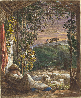 Opaque White Drawing - Samuel Palmer British, 1805 - 1881, The Sleeping Shepherd by Quint Lox