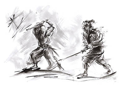 Balck Art Painting - Samurai Fight. by Mariusz Szmerdt