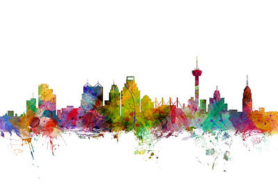 Texas A And M Digital Art - San Antonio Texas Skyline by Michael Tompsett