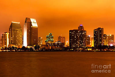 San Diego Skyline At Night Art Print by Paul Velgos