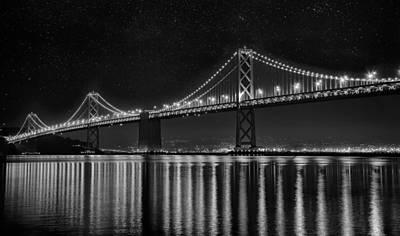 Architecture Photograph - San Francisco Bay Bridge - Black And White by Chad Latta