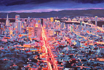 San Francisco - Market Street Night From Twin Peaks Art Print