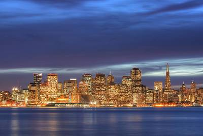 Photograph - San Francisco Night Skyline Seen From Treasure Island by John King