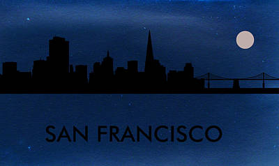 Usa Painting - San Francisco Skyline by Celestial Images