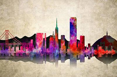Castro Digital Art - San Francisco Skyline by Daniel Hagerman
