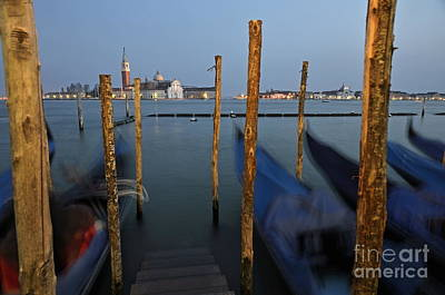 San Giorgio Maggiore Church And Gondolas At Dusk Art Print by Sami Sarkis