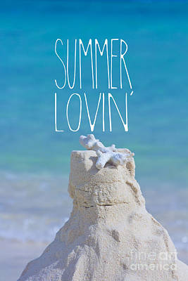 Summer Lovin' Sandcastle With Coral Turquoise Sea Print by Beverly Claire Kaiya