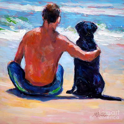 Dog Beach Painting - Sand Sea You Me by Molly Poole
