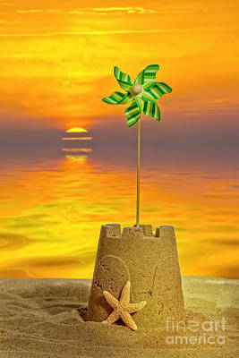 Sandcastles Photograph - Sandcastle At Sunset by Amanda Elwell
