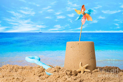 Pinwheel Photograph - Sandcastle On Beach by Amanda Elwell