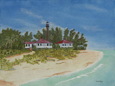 Sanibel Island Painting - Sanibel Lighthouse by John Edebohls