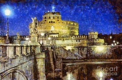Painting - Sant Angelo Castle In Rome by George Atsametakis