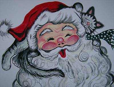 Art Print featuring the painting Santa And Company by Leslie Manley