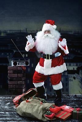 Santa Claus Dancing On A Rooftop Art Print