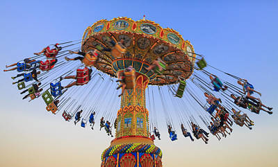Amusement Park Photograph - Santa Cruz Seaswing At Sunset 8 by Scott Campbell