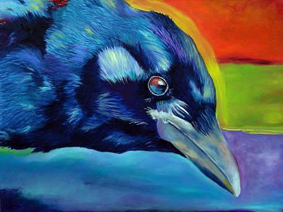 Raven Painting - Santa Fe Raven by Robert Pankey