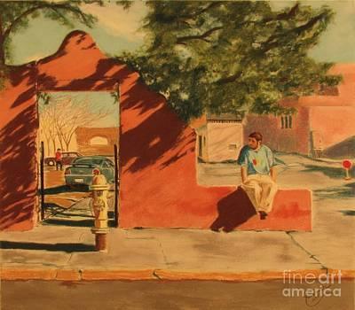 Painting - Santa Fe Sidewalk by Janet Poirier