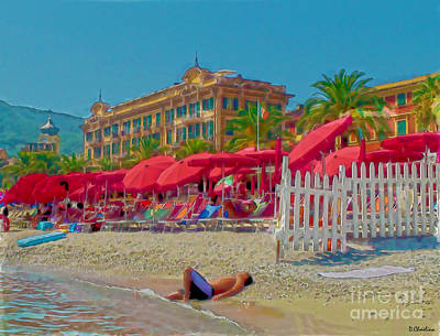 Digital Art - Santa Margherita Beach by Debra Chmelina