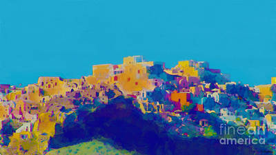 Digital Art - Santorini Cliffs by Debra Chmelina