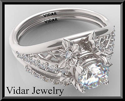 14k White Gold Jewelry - Sapphire And Diamond 14k Flower Wedding Ring And Engagement Ring Set by Roi Avidar
