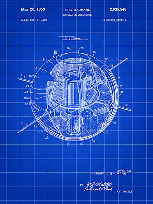 Gps Digital Art - Satellite Patent 1957 - Blue by Stephen Younts