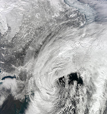 Snowpocalypse Photograph - Satellite View Of A Large Noreaster by Stocktrek Images