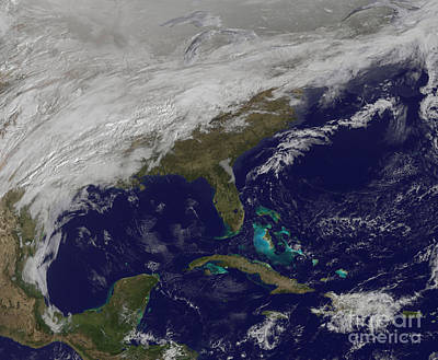 Satellite View Of A Major Winter Storm Art Print by Stocktrek Images
