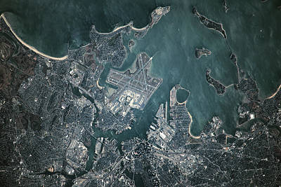 International Airport Photograph - Satellite View Of Boston by Panoramic Images
