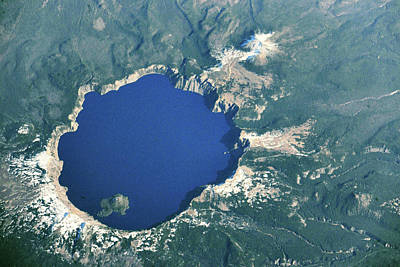 Crater Lake National Park Photograph - Satellite View Of Crater Lake, Oregon by Panoramic Images