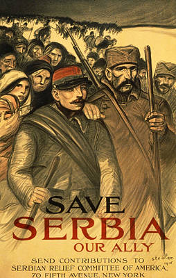 Soldiers Drawing - Save Serbia Our Ally by Theophile Alexandre Steinlen