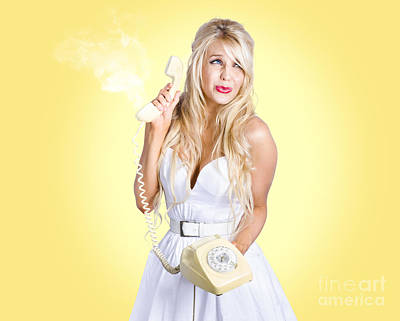 Photograph - Scared Blond Woman. Trouble Phone Call Concept by Jorgo Photography - Wall Art Gallery