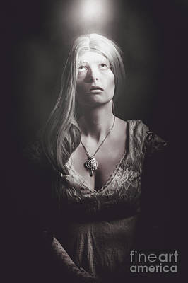 Sun Aura Photograph - Scared Woman Trapped Down In A Dark Dungeon by Jorgo Photography - Wall Art Gallery