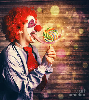 Licking Photograph - Scary Circus Clown At Horror Birthday Party by Jorgo Photography - Wall Art Gallery