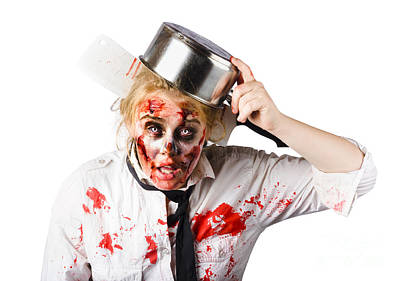 Pour Photograph - Scary Cook Making Mess With Jam by Jorgo Photography - Wall Art Gallery