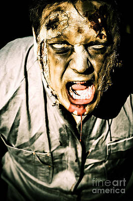 Raging Photograph - Scary Dark Horror Zombie Screaming Bloody Murder by Jorgo Photography - Wall Art Gallery