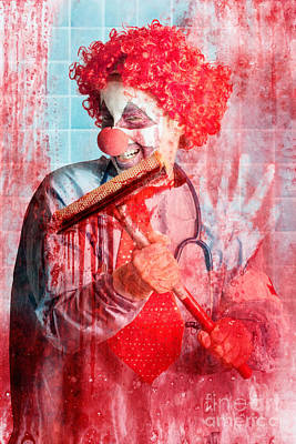 Mess Photograph - Scary Hospital Clown Cleaning Blood Smeared Window by Jorgo Photography - Wall Art Gallery