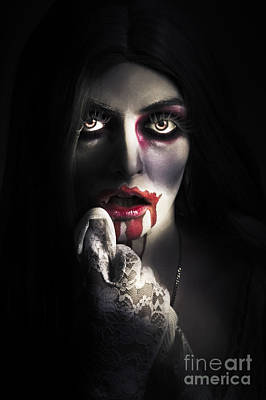 Photograph - Scary Vampire Woman. Bloody Halloween Horror by Jorgo Photography - Wall Art Gallery
